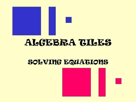 ALGEBRA TILES SOLVING EQUATIONS Replace the equation with tiles: Negative Positive -X X 1.