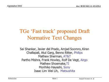 Doc: IEEE 802.11-02/625r1 Submission Amjad Soomro et. al September 2002 Slide 1 TGe 'Fast track' proposed Draft Normative Text Changes Sai Shankar, Javier.