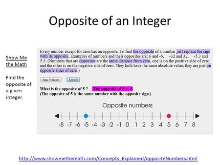 Show Me the Math Find the opposite of a given integer. Opposite of an Integer.