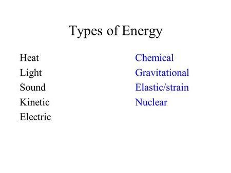Types of Energy HeatChemical LightGravitational SoundElastic/strain KineticNuclear Electric.