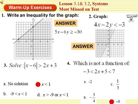 1. 2. Graph: Lesson 3.1& 3.2, Systems Most Missed on Test Write an Inequality for the graph: 3. ANSWER 4. ANSWER.