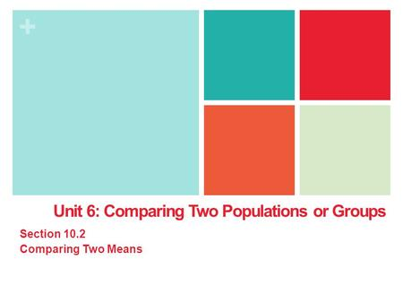 + Unit 6: Comparing Two Populations or Groups Section 10.2 Comparing Two Means.