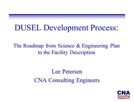 DUSEL Development Process: The Roadmap from Science & Engineering Plan to the Facility Description Lee Petersen CNA Consulting Engineers.