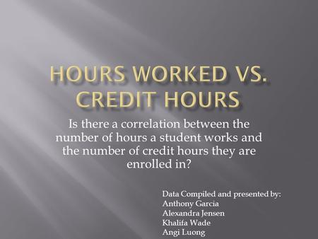 Is there a correlation between the number of hours a student works and the number of credit hours they are enrolled in? Data Compiled and presented by: