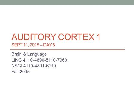 AUDITORY CORTEX 1 SEPT 11, 2015 – DAY 8 Brain & Language LING 4110-4890-5110-7960 NSCI 4110-4891-6110 Fall 2015.