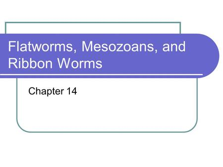 Flatworms, Mesozoans, and Ribbon Worms