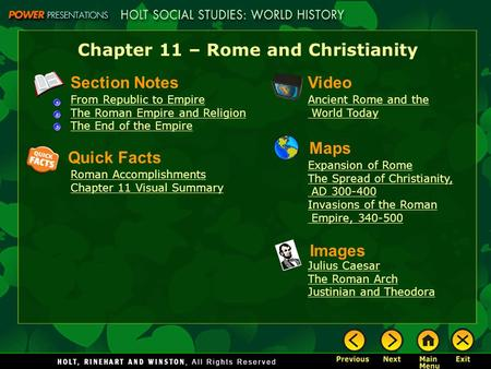 Chapter 11 – Rome and Christianity