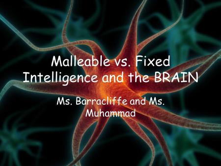 Malleable vs. Fixed Intelligence and the BRAIN Ms. Barracliffe and Ms. Muhammad.