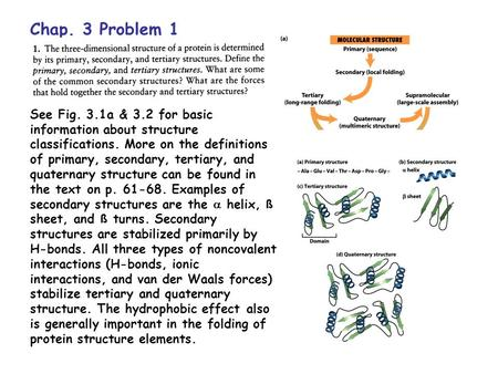 Chap. 3 Problem 1 See Fig. 3.1a & 3.2 for basic information about structure classifications. More on the definitions of primary, secondary, tertiary, and.
