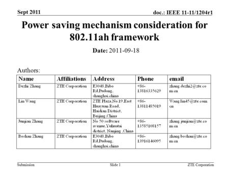 Submission doc.: IEEE 11-11/1204r1 ZTE CorporationSlide 1 Power saving mechanism consideration for 802.11ah framework Date: 2011-09-18 Authors: Sept 2011.