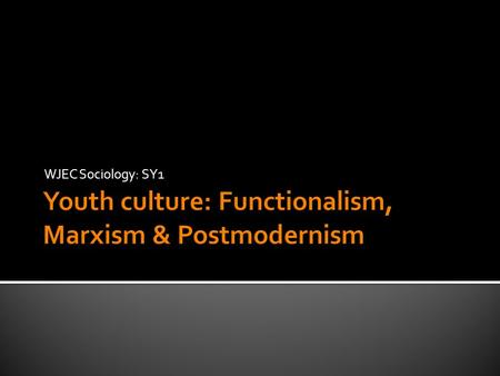 WJEC Sociology: SY1.  Discuss the view that youth subcultures are out-dated (30) This is an example of a control word This indicates the topic or theme.