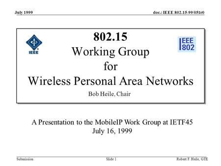 Doc.: IEEE 802.15-99/051r0 Submission July 1999 Robert F. Heile, GTESlide 1 802.15 Working Group for Wireless Personal Area Networks A Presentation to.