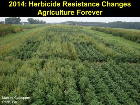 2014: Herbicide Resistance Changes Agriculture Forever Stanley Culpepper Tifton, GA.