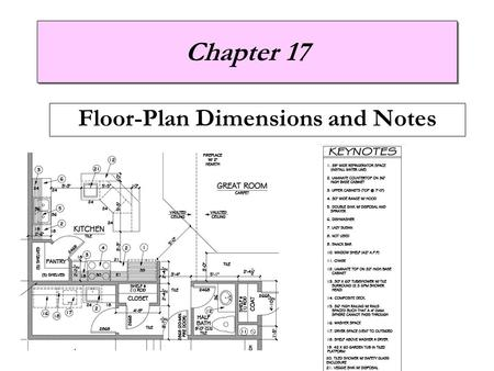 Chapter 17 Floor-Plan Dimensions and Notes. Introduction  Dimensions Provide measurements used for construction Found on all types of architectural drawings.