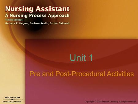 Copyright © 2008 Delmar Learning. All rights reserved. Unit 1 Pre and Post-Procedural Activities.