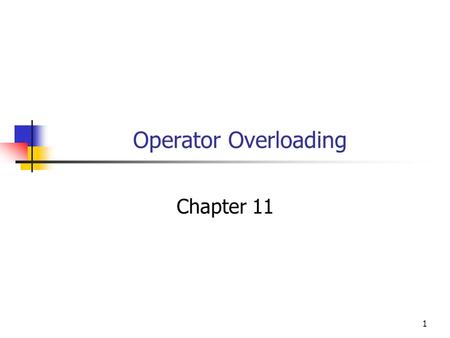 Operator Overloading Chapter 11 1. Objectives You will be able to Add overloaded operators, such as +,-, *, and / to your classes. Understand and use.