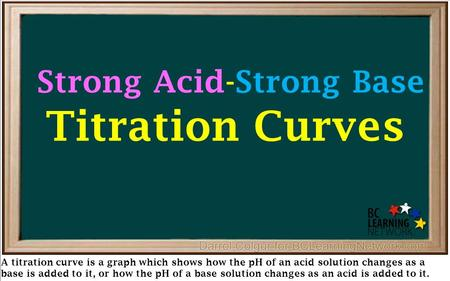 A titration curve is a graph which shows how the pH of an acid solution changes as a base is added to it, or how the pH of a base solution changes as an.