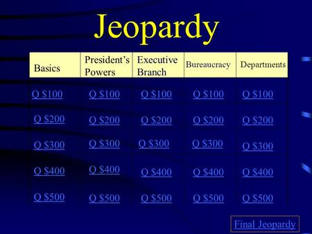 Jeopardy Basics Executive Branch BureaucracyDepartments Q $100 Q $200 Q $300 Q $400 Q $500 Q $100 Q $200 Q $300 Q $400 Q $500 Final Jeopardy President's.