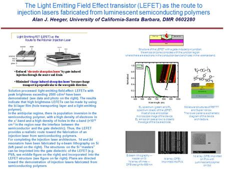 The Light Emitting Field Effect transistor (LEFET) as the route to injection lasers fabricated from luminescent semiconducting polymers Alan J. Heeger,