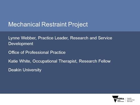 Mechanical Restraint Project Lynne Webber, Practice Leader, Research and Service Development Office of Professional Practice Katie White, Occupational.