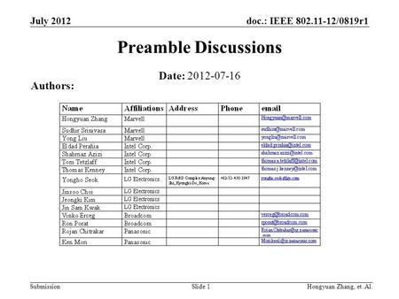 Doc.: IEEE 802.11-12/0819r1 Submission July 2012 Hongyuan Zhang, et. Al.Slide 1 Preamble Discussions Date: 2012-07-16 Authors: