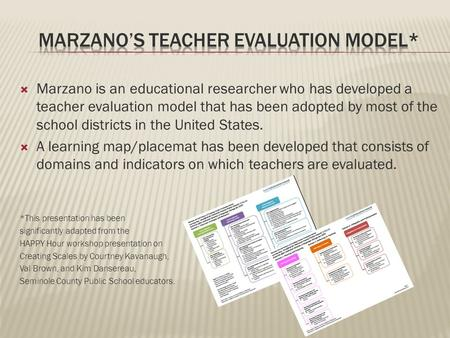  Marzano is an educational researcher who has developed a teacher evaluation model that has been adopted by most of the school districts in the United.