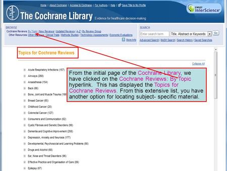 From the initial page of the Cochrane Library, we have clicked on the Cochrane Reviews: By Topic hyperlink. This has displayed the Topics for Cochrane.