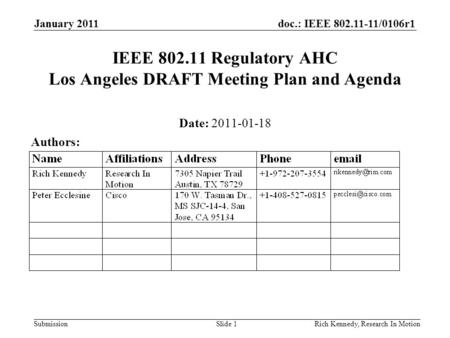 Doc.: IEEE 802.11-11/0106r1 Submission January 2011 Rich Kennedy, Research In MotionSlide 1 IEEE 802.11 Regulatory AHC Los Angeles DRAFT Meeting Plan and.