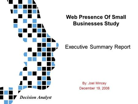 Decision Analyst Web Presence Of Small Businesses Study By: Joel Mincey December 19, 2008 Executive Summary Report.