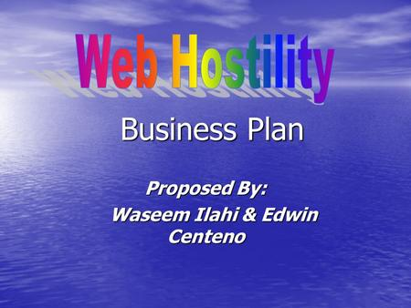Business Plan Proposed By: Waseem Ilahi & Edwin Centeno Waseem Ilahi & Edwin Centeno.
