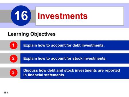 16-1 Learning Objectives Explain how to account for debt investments. Explain how to account for stock investments. Discuss how debt and stock investments.