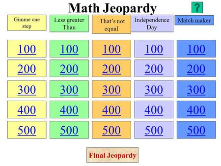 Math Jeopardy 100 200 300 400 500 100 200 300 400 500 100 200 300 400 500 100 200 300 400 500 100 200 300 400 500 Gimme one step Less greater Than That's.