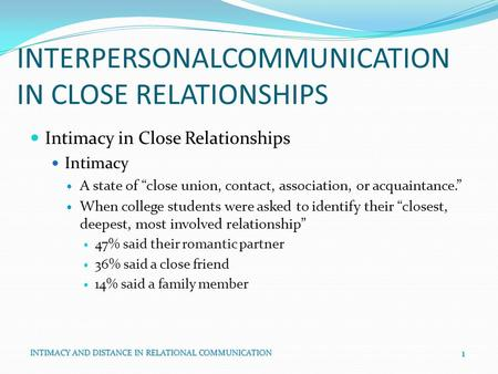 INTERPERSONALCOMMUNICATION IN CLOSE RELATIONSHIPS