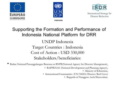Supporting the Formation and Performance of Indonesia National Platform for DRR UNDP Indonesia Target Countries : Indonesia Cost of Action : USD 330,000.