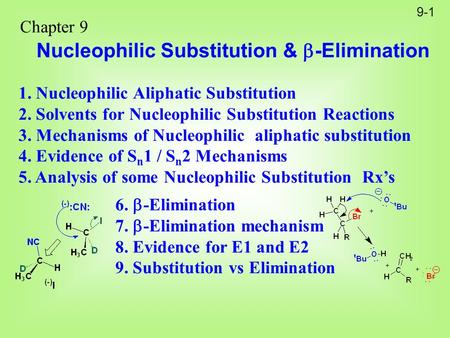 9-1 Chapter 9 Nucleophilic Substitution &  -Elimination 1. Nucleophilic Aliphatic Substitution 2. Solvents for Nucleophilic Substitution Reactions 3.