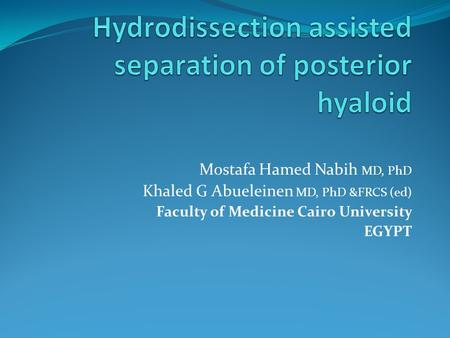 Mostafa Hamed Nabih MD, PhD Khaled G Abueleinen MD, PhD &FRCS (ed) Faculty of Medicine Cairo University EGYPT.