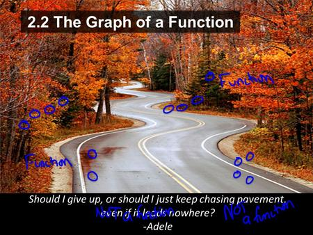 2.2 The Graph of a Function Should I give up, or should I just keep chasing pavement, even if it leads nowhere? -Adele.