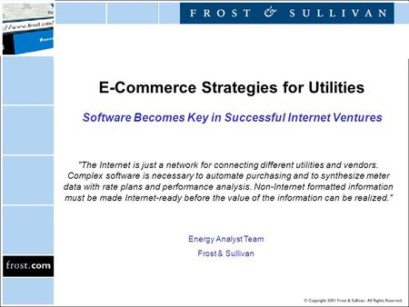 E-Commerce Strategies for Utilities Software Becomes Key in Successful Internet Ventures The Internet is just a network for connecting different utilities.
