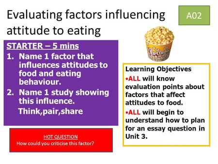 Evaluating factors influencing attitude to eating A02 STARTER – 5 mins 1.Name 1 factor that influences attitudes to food and eating behaviour. 2.Name 1.