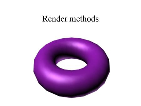 Render methods. Contents Levels of rendering Wireframe Plain shadow Gouraud Phong Comparison Gouraud-Phong.