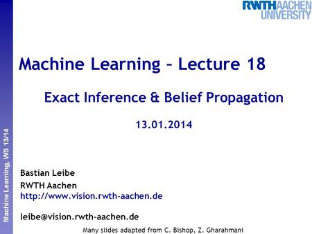 Machine Learning – Lecture 18