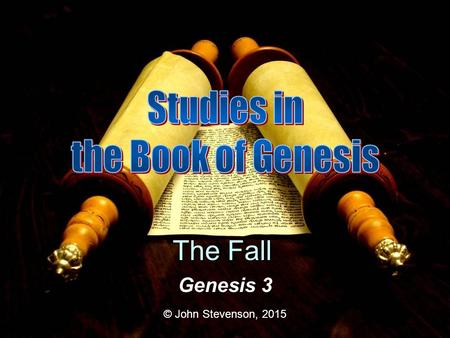 Genesis 3 © John Stevenson, 2015 The Fall. Creation Chapters 1-2 Life Innocence Presence of God Chapters 3-4 Fall Death Sin Banishment from God's presence.