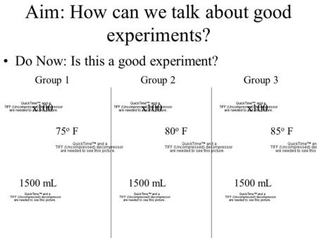 x100 1500 mL 80 o F Aim: How can we talk about good experiments? Do Now: Is this a good experiment? x100 1500 mL 75 o F x100 1500 mL 85 o F Group 1Group.