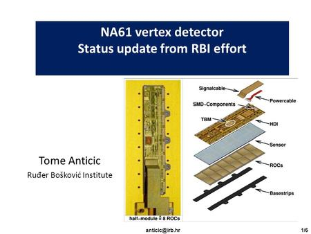 NA61 vertex detector Status update from RBI effort Tome Anticic Ru đ er Bošković Institute.