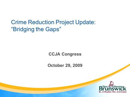 "Crime Reduction Project Update: ""Bridging the Gaps"" CCJA Congress October 29, 2009."