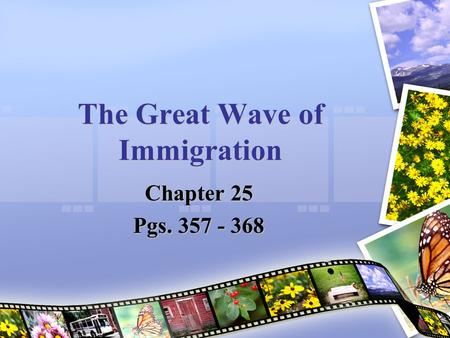 The Great Wave of Immigration Chapter 25 Pgs. 357 - 368.