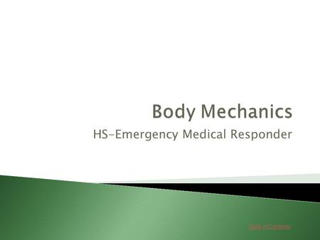 Table of Contents HS-Emergency Medical Responder.