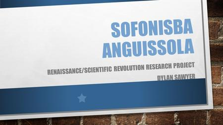 SOFONISBA ANGUISSOLA RENAISSANCE/SCIENTIFIC REVOLUTION RESEARCH PROJECT DYLAN SAWYER.