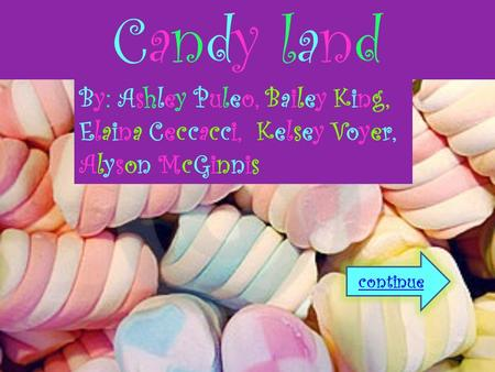 Candy landCandy land continue By: Ashley Puleo, Bailey King, Elaina Ceccacci, Kelsey Voyer, Alyson McGinnis.