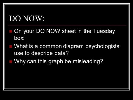 DO NOW: On your DO NOW sheet in the Tuesday box: What is a common diagram psychologists use to describe data? Why can this graph be misleading?